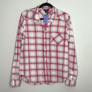Paige pink and white plaid button down sz M